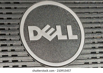KIEV, UKRAINE - JULY 14, 2014: Dell logotype closeup back side of flat digital monitor. Dell Inc. is an American multinational computer technology company that develops, sells and repairs computers.