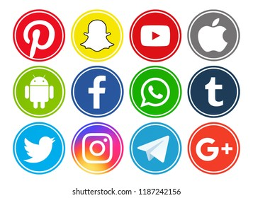 Kiev, Ukraine - July 15, 2018: Set of most  popular social media logos printed on paper:Facebook, Twitter, YouTube, Pinterest, Instagram, Telegram, Snapchat, Android, WhatsApp, Apple, Tumblr, Google.