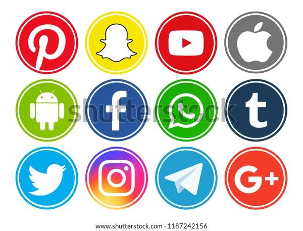 33ef66dfb06ca9 Kiev, Ukraine - July 15, 2018: Set of most popular social media logos