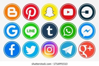 Kiev, Ukraine - July 15, 2019:  Set of icons: Facebook, Twitter, YouTube, Pinterest, Instagram, Telegram,Snapchat, WhatsApp,Uber, Blogger,Google, Tumblr, Messenger, Line, Google Plus printed on paper.