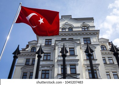 KIEV, UKRAINE - July 16, 2016: Flag of the Turkish Republic in front of the Turkish Embassy in Kiev, Ukraine.