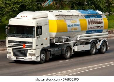 Kiev, Ukraine - July 18, 2008. White DAF truck with semi-tank for transportation of bakery flour.