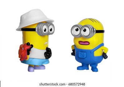 Kiev, Ukraine - July 18, 2017: Minions toys isolated on white. Minions is a character from Despicable Me 3, animated 3D film produced by Universal Pictures.
