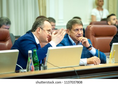 KIEV, UKRAINE - July 18, 2018: Minister of Energy and Coal Industry Igor Nasalik and Minister of Ecology and Natural Resources Ostap Semerak. Cabinet of Ministers of Ukraine