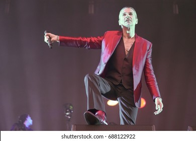 Kiev, Ukraine, July 19, 2017: Concert Depeche Mode at the Olympic Stadium in Kiev during Global Spirit Tour. The vocalist Dave Gahan performs a song on stage