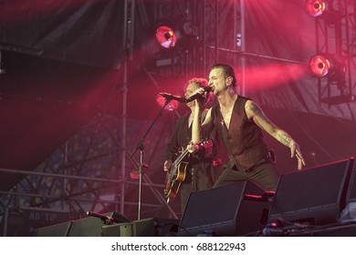 Kiev, Ukraine, July 19, 2017: Concert Depeche Mode at the Olympic Stadium in Kiev during Global Spirit Tour. The vocalist Dave Gahan and Martin Lee Gore performs a song on stage