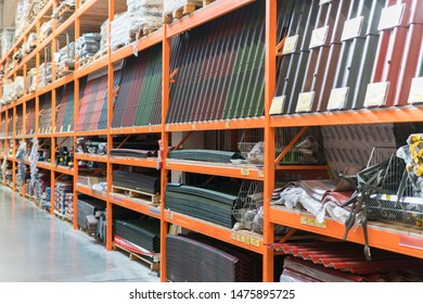 Kiev, Ukraine. July 19 2019 Roofing materials on shelves in a hardware store. Samples of roof and wall coatings at a hardware store