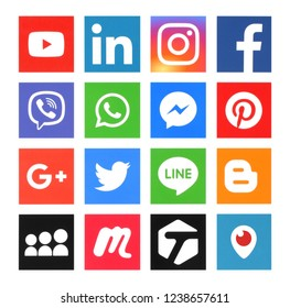 Kiev, Ukraine - July 2, 2018: Popular social media icons such as: Facebook, Twitter, pinterest, LinkedIn and others, printed on white paper.