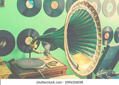 KIEV, UKRAINE - July 2017: Flea market in Kiev. Old vintage audio equipment. Retro turntable, gramophone, phonograph records for sale on secondhand market in Kiev, Ukraine
