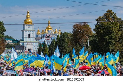 Kiev, Ukraine - July, 2018: A picture of the Day of Baptism of Rus celebration in the streets of Kiev.