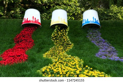 Kiev, Ukraine – July 22 : Spilled Paint bucket  made of flowers on 22/07/2018 in Kiev