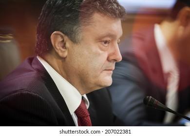 KIEV, UKRAINE - JULY 23, 2014: President of Ukraine Petro Poroshenko profil portrait during the meeting with deputies