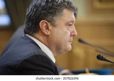 KIEV, UKRAINE - JULY 23, 2014: President of Ukraine Petro Poroshenko portrait during the meeting with deputies
