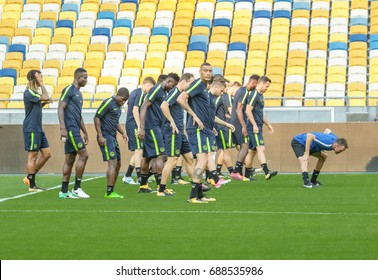 Kiev, Ukraine - JULY 25, 2017: Open training for BSC Young Boys before the UEFA Champions League match against Dynamo Kyiv at the NSC Olympiyskiy Stadium