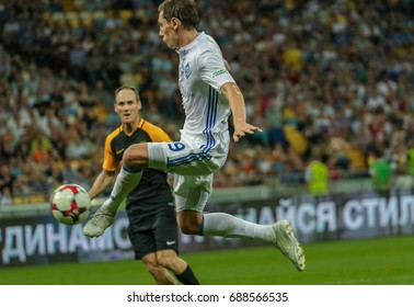 Kiev, Ukraine - July 26, 2017: Denis Garmash scores a goal during the Champions League qualification match between Dynamo Kiev vs. Young Boys at the NSC Olympic Stadium