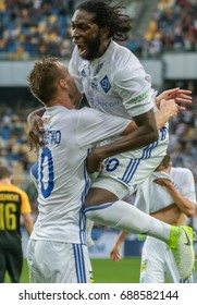 Kiev, Ukraine - JULY 26, 2017:Dieumerci Mbokani of  Dynamo celebrates the just-scored goal during the Champions League qualification match between Dynamo Kyiv vs. Young Boys at the NSC Olympic Stadium