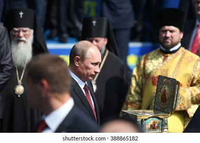 KIEV, UKRAINE, July, 27, 2013 -Russian President V.Putin attended a ceremony celebrating the 1025 anniversary of the Baptism of Kievan Rus'