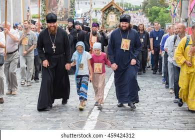 KIEV, UKRAINE - JULY 27, 2016 : Parishioners Ukrainian Orthodox Church Moscow Patriarchate during religious procession. At present there is undeclared war of Kiev Patriarchate and Moscow Patriarchate