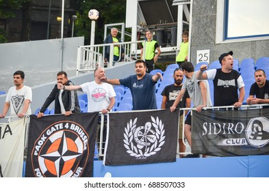KIEV, UKRAINE - July 27, 2017: Greek fans and ultras with flags support their tem during the UEFA Europa League match between Olimpik Donetsk vs PAOK Thessaloniki, Ukraine