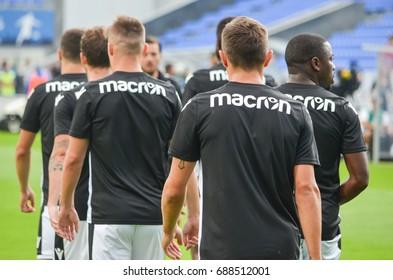 KIEV, UKRAINE - July 27, 2017: Back PAOK Football players trains during the UEFA Europa League match between Olimpik Donetsk vs PAOK Thessaloniki, Ukraine