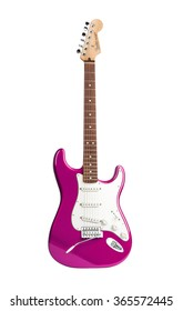 KIEV, UKRAINE - JULY 28, 2014: pink six-stringed electric guitar isolated on white background