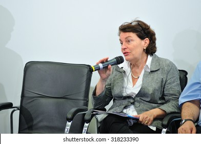 KIEV, UKRAINE - July 3, 2015: Giovanna Barberis - UNICEF Representative in Ukraine - at a meeting with Serhiy Kvit, Minister of Education of Ukraine