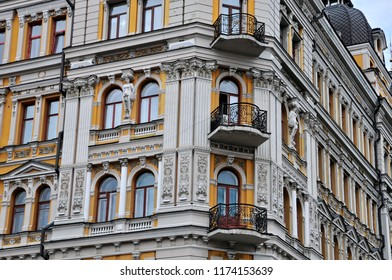 Kiev, Ukraine - July 3, 2018: Profitable house of Nikolay Samonov, built in 1901, architect Nikolai Yaskevich. Bogdana Khmelnitsky Street № 30/10.