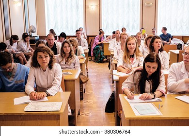 Kiev, Ukraine - July 6, 2015: dentists, doctors, students at lecture