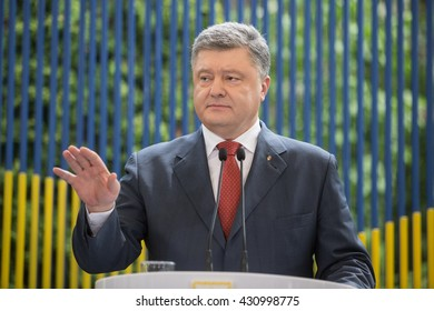 KIEV, UKRAINE - Jun 03, 2016: Press conference of President of Ukraine Petro Poroshenko in Kiev