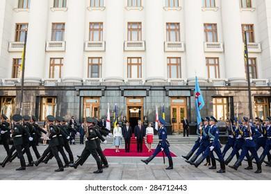 KIEV, UKRAINE - Jun 06, 2015: Japanese Prime Minister Shinzo Abe during his meeting with President of Ukraine Petro Poroshenko in Kiev. Guard of Honour