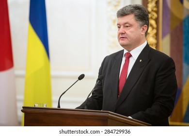 KIEV, UKRAINE - Jun 06, 2015: President of Ukraine Petro Poroshenko during a joint briefing with Prime Minister Shinzo Abe in Kiev