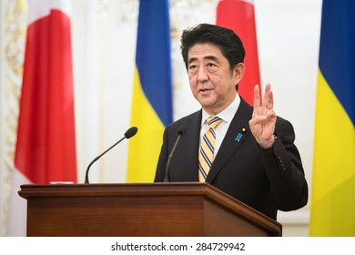 KIEV, UKRAINE - Jun 06, 2015: Japanese Prime Minister Shinzo Abe during his meeting with President of Ukraine Petro Poroshenko in Kiev