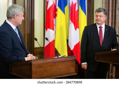 KIEV, UKRAINE - Jun 06, 2015: Joint press conference of the President of Ukraine Petro Poroshenko, and Canadian Prime Minister Stephen Harper