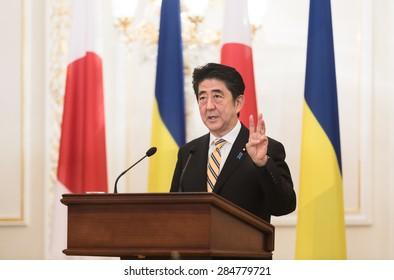 KIEV, UKRAINE - Jun 06, 2015: Japanese Prime Minister Shinzo Abe during his meeting with President of Ukraine Petro Poroshenko in Kiev