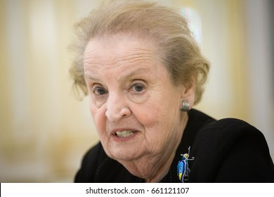 KIEV, UKRAINE - Jun 16, 2017: President of Ukraine had a meeting with the delegation of U.S. National Democratic Institute headed by Board Chairman, former U.S. Secretary of State Madeleine Albright