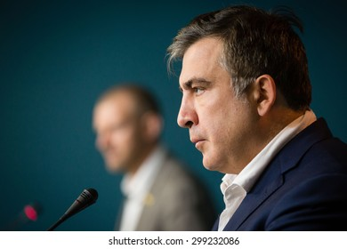 KIEV, UKRAINE - Jun 23, 2015: Chairman of the Odessa Regional State Administration Mikhail Saakashvili during a meeting with journalists. Briefing in Presidential Administration of Ukraine.