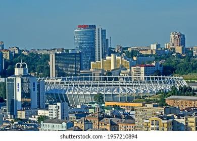 KIEV, UKRAINE - JUN 25, 2020: aerial Kyiv city panorama with Oliympic stadium, Park Inn and Rus hotels, Parus business center on June 25, 2020 in Kiev, Ukraine.