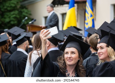 KIEV, UKRAINE - Jun 28, 2015: President of Ukraine Petro Poroshenko during celebrations to mark the end of the academic year in the Kiev-Mohyla Academy