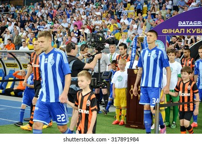 KIEV, UKRAINE - JUN 4: Yevgeny Khacheridi (L) and Sergey Rybalka (R) during the final match Shakhtar vs Dynamo Kiev, 4 June 2015, NSC Olympic Stadium, Kiev, Ukraine