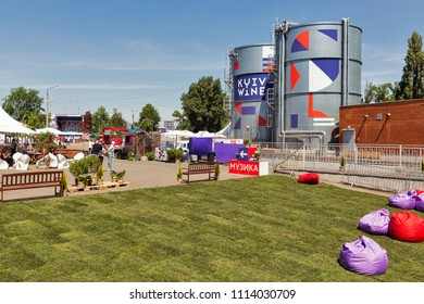 KIEV, UKRAINE - JUNE 02, 2018: Kyiv Wine Festival food court and music stage. Festival of wine and healthy food was organized by Good Wine company, 77 winemakers from around the world took part there.