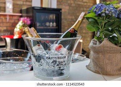 KIEV, UKRAINE - JUNE 02, 2018: Taittinger champagne bar at Kyiv Wine Festival. Big festival of wine and food was organized by Good Wine company, 77 winemakers from around the world took part there.