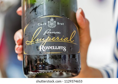KIEV, UKRAINE - JUNE 02, 2018: Imperial Rovelatts cava sparkling wine closeup at Kyiv Wine Festival. 77 winemakers from around the world took part in the big festival organized by Good Wine company.