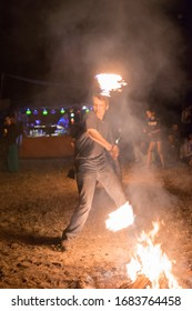 Kiev, Ukraine, - June 03, 2018: A man makes a fiery show at the festival at night.