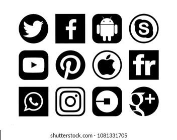 Kiev, Ukraine - June 04, 2017: Set of popular social media icons printed on white paper: Facebook, Instagram, Google Plus,Twitter, Apple,Youtube, WhatsApp, Android, Skype, Pinterest, Uber, Flickr.