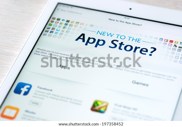 KIEV, UKRAINE - JUNE 05, 2014: App Store features information page on brand new Apple iPad Air. App Store is a digital distribution service for mobile apps on iOS platform, developed by Apple Inc.