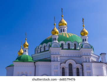 KIEV , UKRAINE - JUNE 05 : The Pechersk Lavra monastery in Kiev , Ukraine on June 05 2017 The Pechersk Lavra is unesco world heritage site since 1990