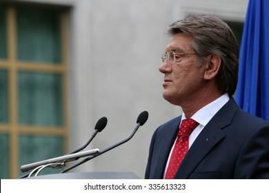 KIEV, UKRAINE - June 06, 2007: Former Ukrainian President Viktor Yushchenko speaks at a press conference in the Presidential Administration.