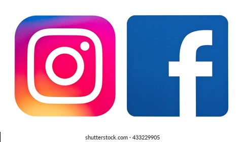 Kiev, Ukraine - June 06, 2016: Popular social media logos Instagram and Facebook printed on paper. Logos for e-business, websites, mobile applications, banners.