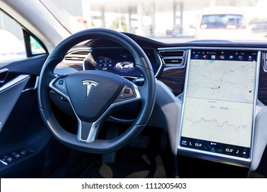 Kiev, Ukraine June 06, 2018: Interior of an electric car Tesla Model S with a large touch screen panel.