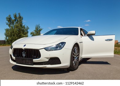 Kiev, Ukraine June 06, 2018: White maserati in the countryside outside the city